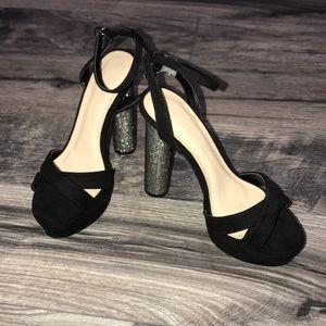 Brand new black, chunky gem heels